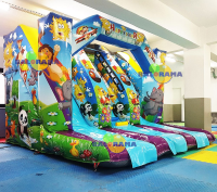 Cheerful Animals Inflatable Water Slide 4x4x2.9mt