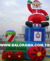 Giant Inflatable Santa and Train