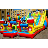 Giant Slide Cartoons Inflatable Playground 6x15x6m