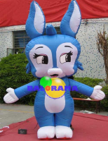 Inflatable Mascot Blue Rabbit 3m