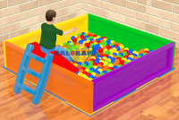 Iron Ball Pool with Slide 2mx2mx50cm