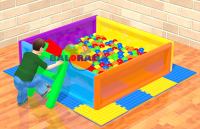 Iron Square Ball Pool with Slide 160x160x50cm
